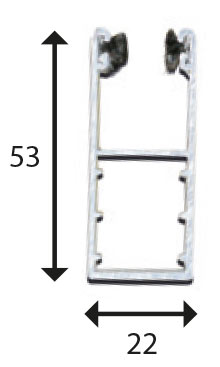Coulisse H25 53x22 pour des volets < 3000